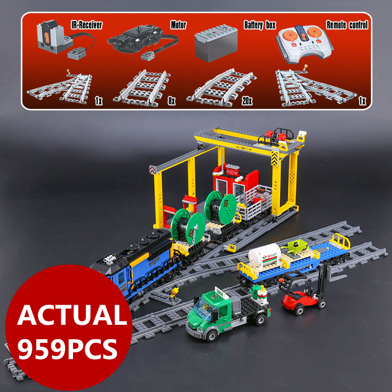 Lepin 02008 city series the RC freight train set  959pcs compatible 60052 model building Blocks bricks birthday gifts boy toys lepin 02008 the cargo train 959pcs city series legoingly 60052 plate sets building nano blocks bricks toys for boy gift