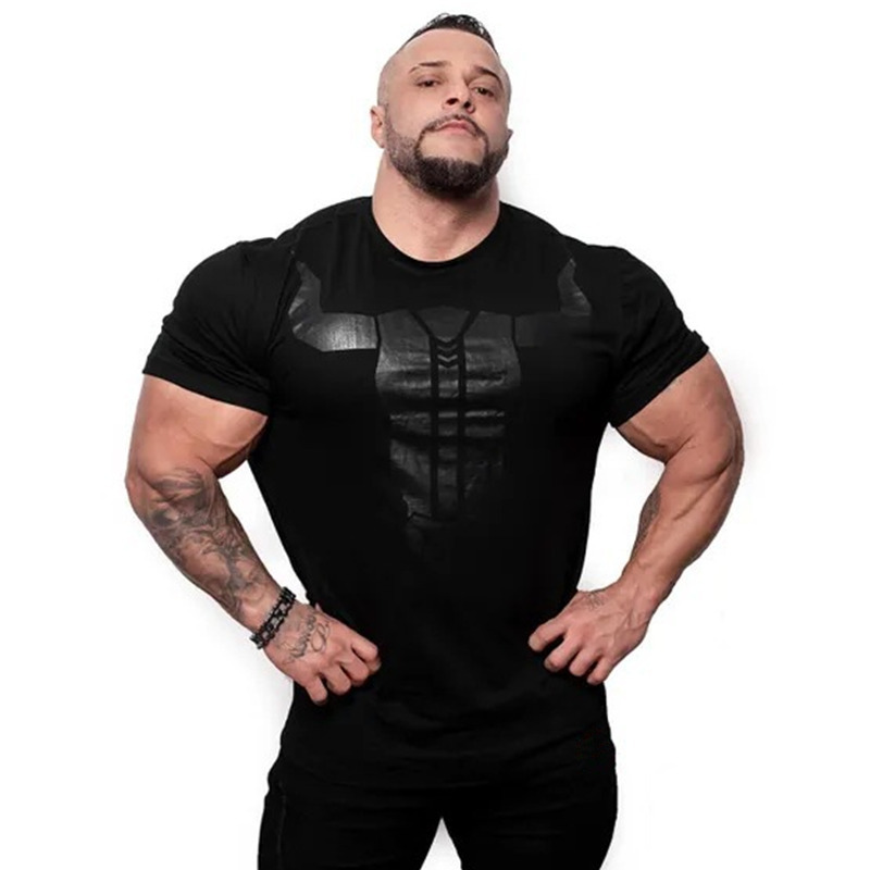 2019 New Mens Gyms Fitness Bodybuilding Skinny T-shirt Summer Casual Fashion Print Male Cotton Tee Shirt Tops Crossfit Clothing
