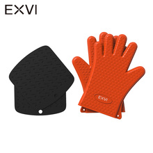 EXVI 2PCS Food Grade Thick Silicone and Heat Resistant Baking Mat Kitchen Barbecue Oven Glove Cooking BBQ Grill Glove Oven Mitt
