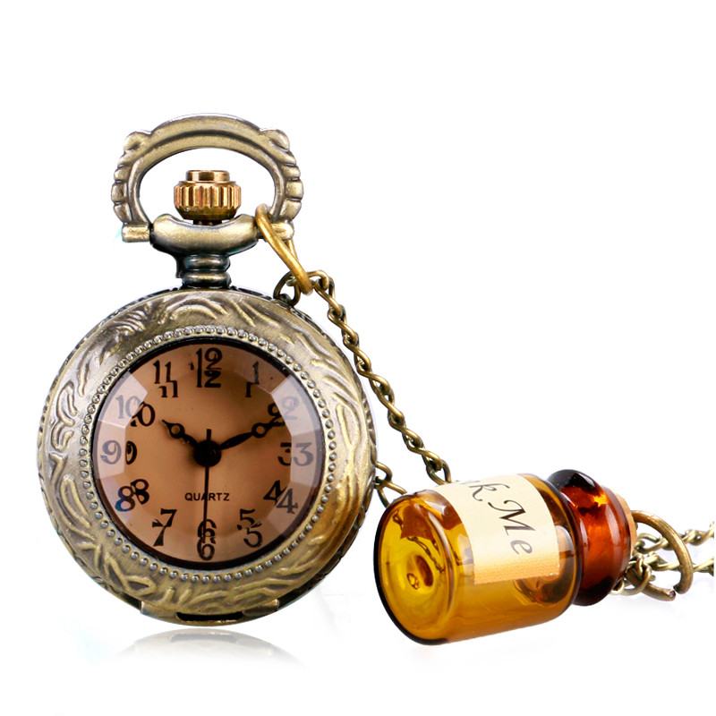 Vintage Glass Alice In Wonderland with Cute Drink Me Bottle Dark Brown Quartz Pocket Watch for Women Lady Girl Unique Gifts (1)