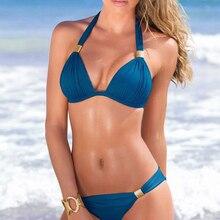 Blue Halter Bikini Set Push Up XXL Plus Size Swimwear Women