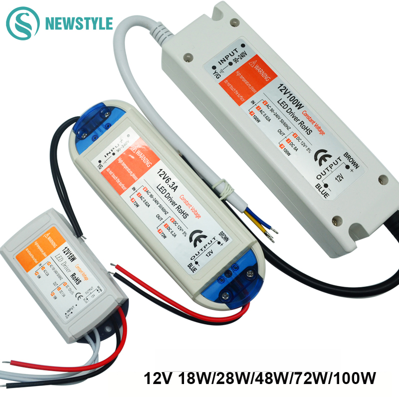 1pcs DC12V Power Supply Led Driver 18W/28W/48W/72W/100W <font><b>Adapter</b></font> Lighting Transformer Switch for LED Strip ceiling Light bulb image