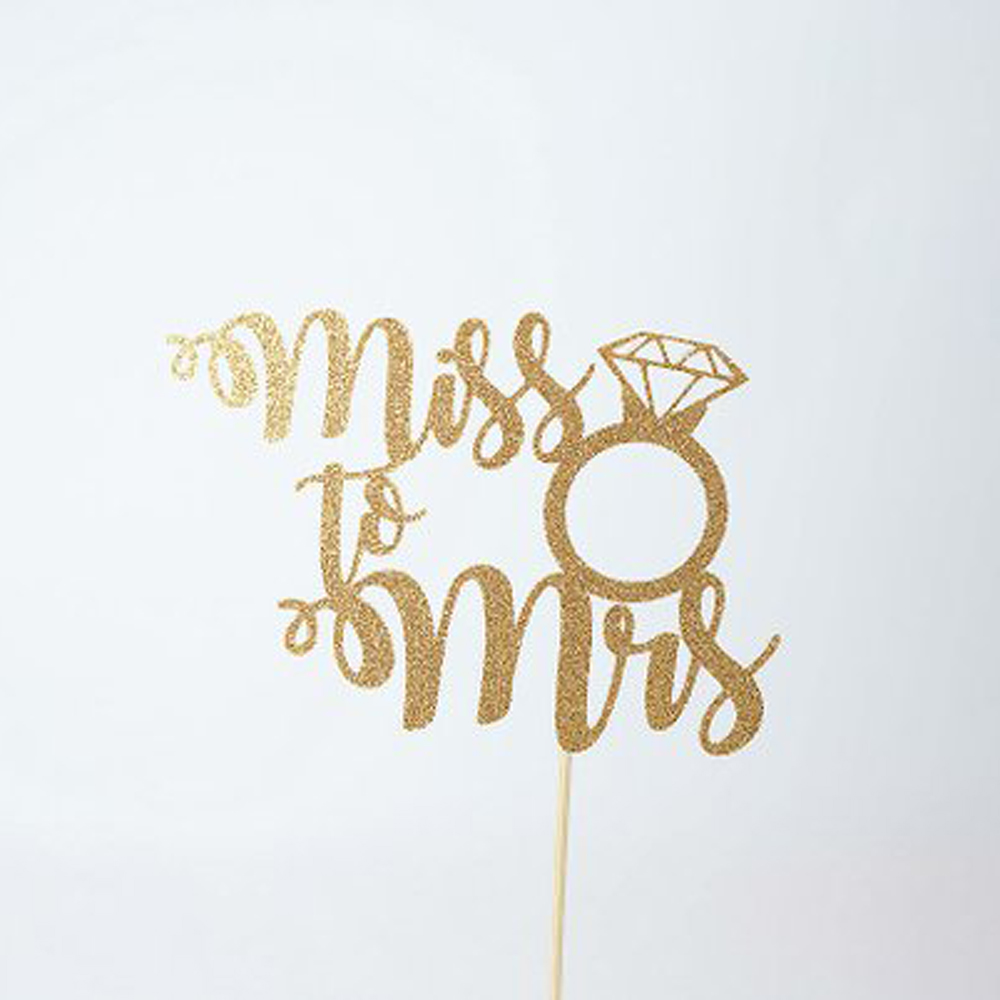 Wedding cake topper, Miss To Mrs Cake Topper, Engagement Topper, Bridal Shower Cake Topper decoration Supplies