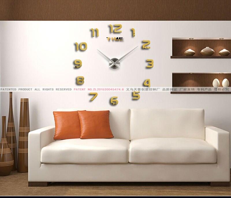 New fashion home decor big mirror 3D DIY wall clock Modern design ...