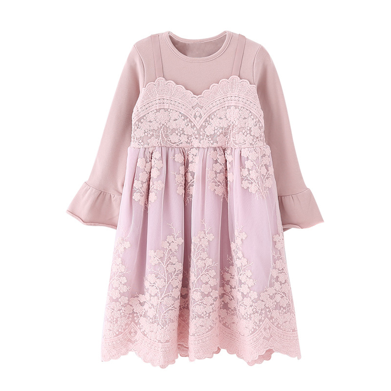 embroidery lace flower children dresses age for 3 - 12 yrs teenage girls 2018 autumn winter long sleeve dress pink party frocks 2017 autumn designer runway style party lace women allover hollow out lace embroidery long sleeve dark blue mermaid dress festa