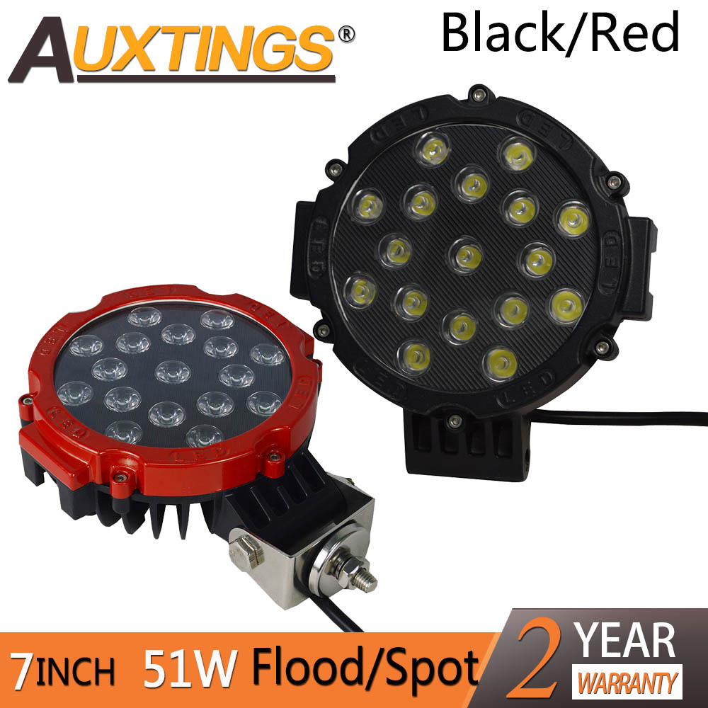 Auxtings 2X 7 Inch 7'' 51w 12V 24V Led Work Light Bar Black Red 4x4 Offroad Car Spot Flood Beam For Jeep Truck Auto 4X4 ATV Boat