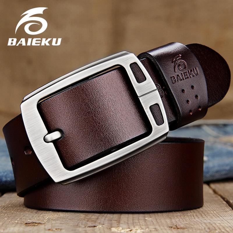 BAIEKU genuine leather   belts   Men's pin buckle   belt   High quality fashion vintage male strap for jaens Length of 105cm-140cm