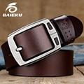 BAIEKU genuine leather <font><b>belts</b></font> Men's pin buckle <font><b>belt</b></font> High quality fashion vintage male strap for jaens Length of 105cm-140cm