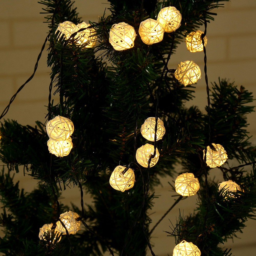 30 LED Solar Powered Colorful Rattan Ball String Light Fairy Light Led Holiday Party Light Wedding Christmas Tree Decoration