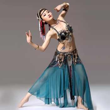 Bajo costo Mujeres trajes de Danza Bollywood sujetador y cinturón y falda  señora Danza Tribal vientre Danza ffeb749cb54
