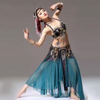 Women Bollywood Dance Costumes Bra&Belt&Skirt Lady Danza Tribal Belly dance Gypsy Clothes Belli Dancer Danza Tribal Top Verde