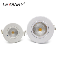 LEDIARY Round LED Recessed COB Downlights LED Spot Lights Real 3W 5W 100V-240V No Flicker 2/3 Inch Size 55/70mm Cut Hole