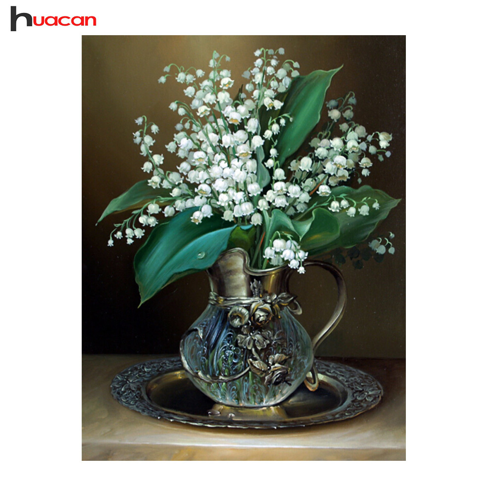 HUACAN 5D White Russia Flower Diamond Painting for Living Room Cross Cross Stitch DIY Diamond Mosaic Popular ձեռագործ արհեստներ F1333