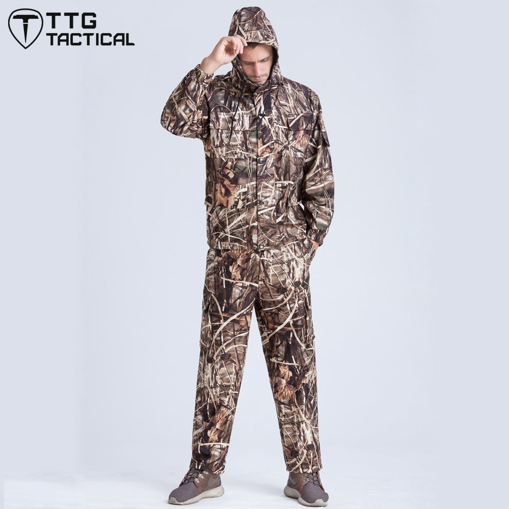 ФОТО Outdoor Tactical Ghillie Suits Multi-Pockets Camouflage Hunting Uniform Waterproof Military Combat Set Includes Jacket & Pants