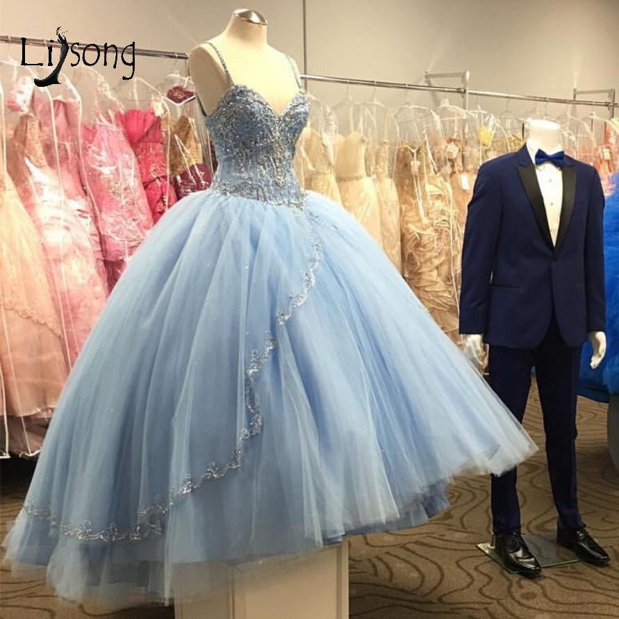 Sky Blue Beaded Princess Tutu Ball Gowns 2019 Saudi Arabic Sparkle Crytsal   Prom     Dresses   Plus Size   Prom   Gowns Abendkleider