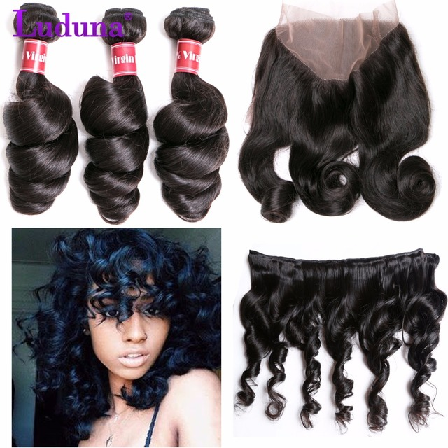 360 Lace Frontal With Bundle 3 Bundles Peruvian Loose Wave With Closure 7A Peruvian Loose Wave Bundles With 360 Closure Deals