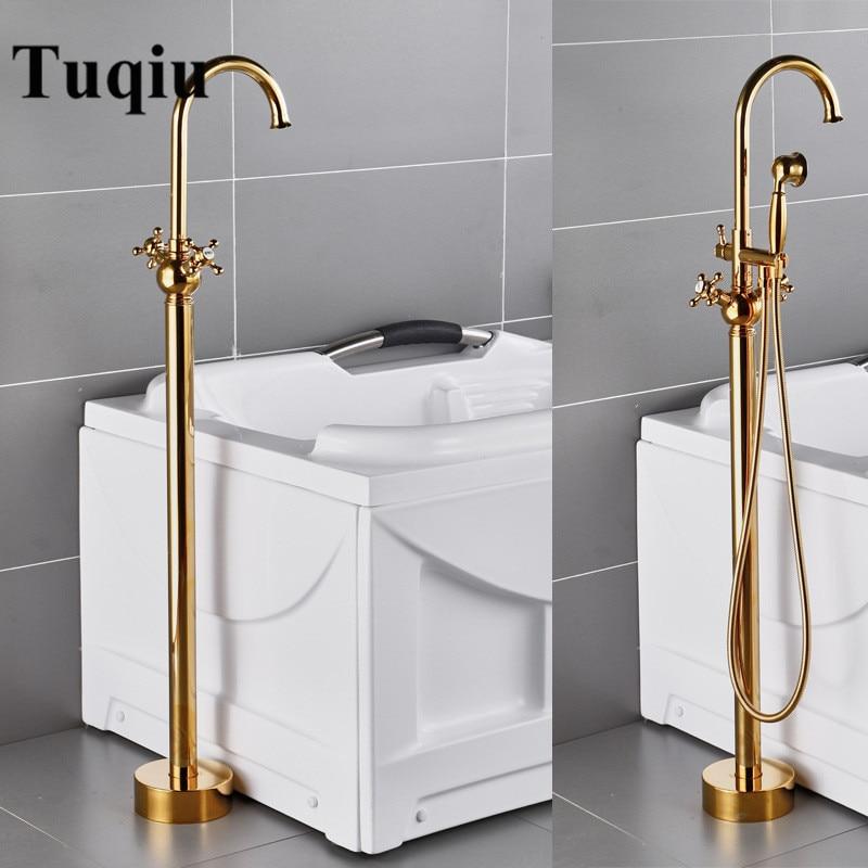 Bathroom Bathtub Faucet Handheld Shower Free Standing Gold BathTub Mixer Taps Floor Mounted