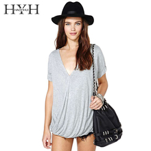 HYH Haoyihui Hot Casual Short Sleeve Deep V-neck Solid Pull On Soft T-shirt Brief Smocking Loose Sexy Tops For Female