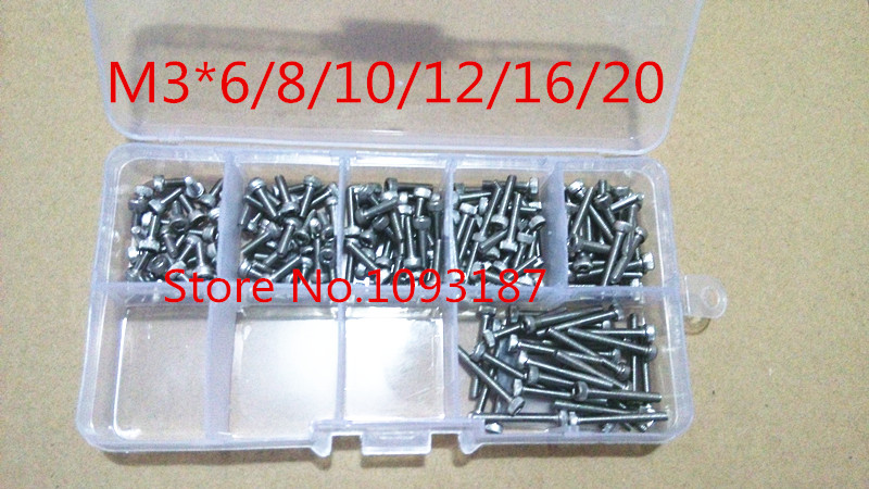 120pcs M3*5/6/8/10/12/16 3mm DIN912 304 Allen Head Hex Socket Head Cap Screw Accessories Kits 250pcs set m3 5 6 8 10 12 14 16 20 25mm hex socket head cap screw stainless steel m3 screw accessories kit sample box