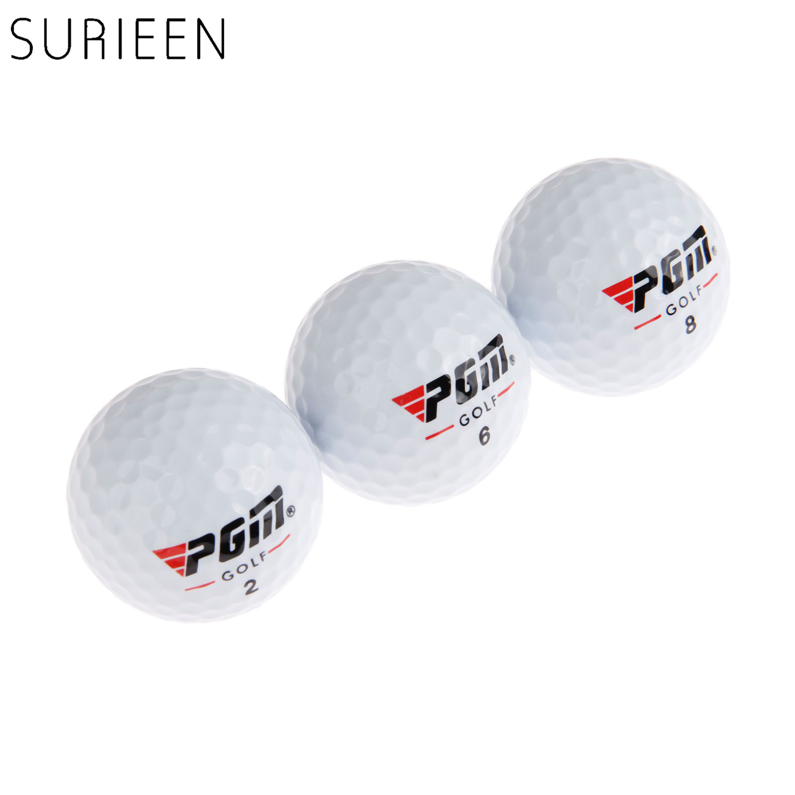 SURIEEN White 3pcs Golf Competition Balls 3 Layers High Quality Game Balls 42.6mm Diameter Synthetic Rubber Golf Training Balls
