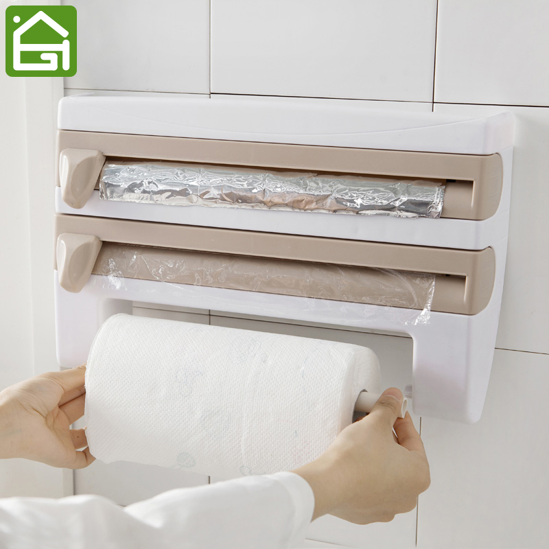 envoltura de papel de cocina de en rack de pared rollo de papel colgando organizador