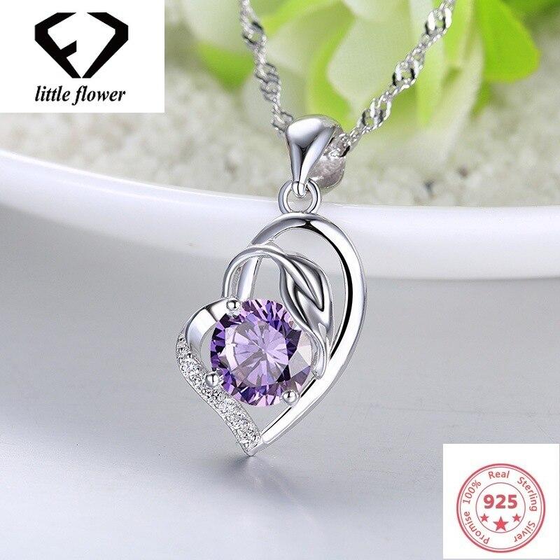 Austrian Heart Pendant Necklace Womens Sliver Color S925 Jewelery Amethyst Sapphire Bizuterias Pendants Gemstone Fine Jewelry