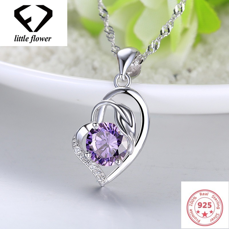 Hot Austrian Heart Pendant Necklace Womens Sliver S925 Jewelery Amethyst Sapphire Bizuterias Pendants Gemstone Fine Jewelry 2019