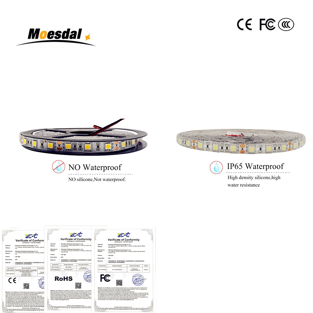 Moesdal LED Strip 5050 DC12V 60LEDs/m 5m/lot Flexible LED Light RGB RGBW 5050 led light strip for pc 5 30 pcs lot 1m aluminum profile for led strip milky transparent cover for 12mm pcb with fittings embedded led bar light