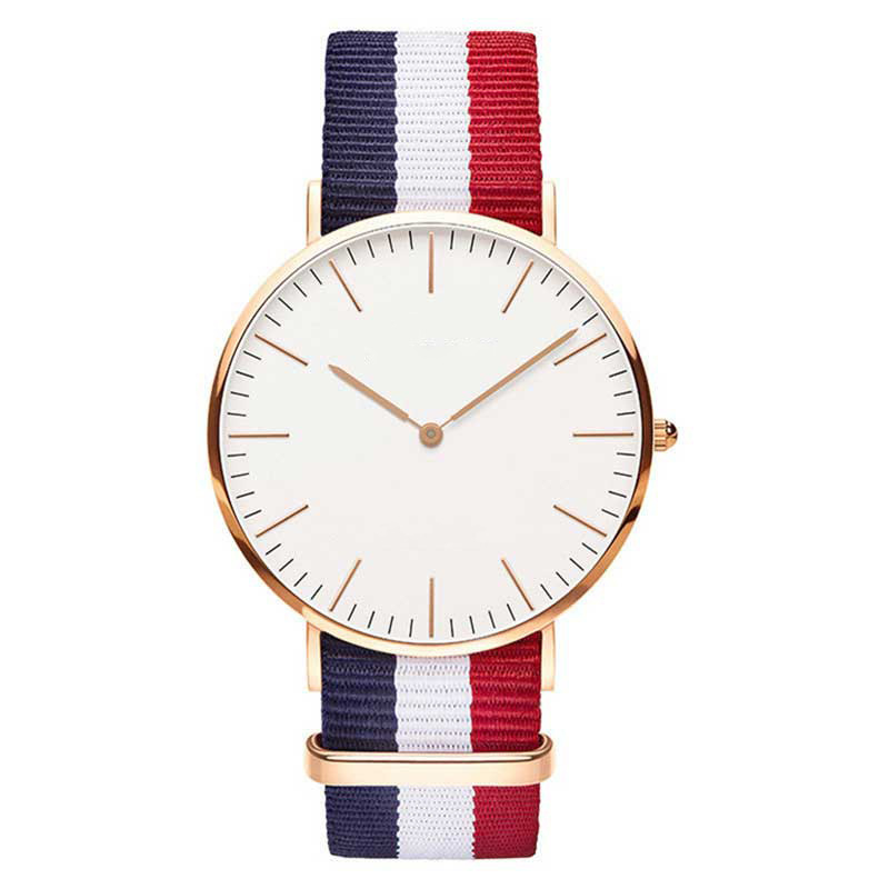 New Casual And Fashion Quartz Watch With Multicolor Nylon Cloth Watchband Wristwatch Simple Designer Women Clock Orologio