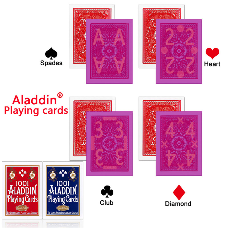 Aladdin Cards Invisible Marked Cards for Perspective Glasses red/blue Poker Anti Cheat Invisible Belgium Plastic Magic Poker