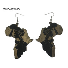 Earrings Engraved Africa Map Natural Wood Black Queen African Afro Vintage Retro Club Jewelry Wooden DIY Hiphop Ear Accessories