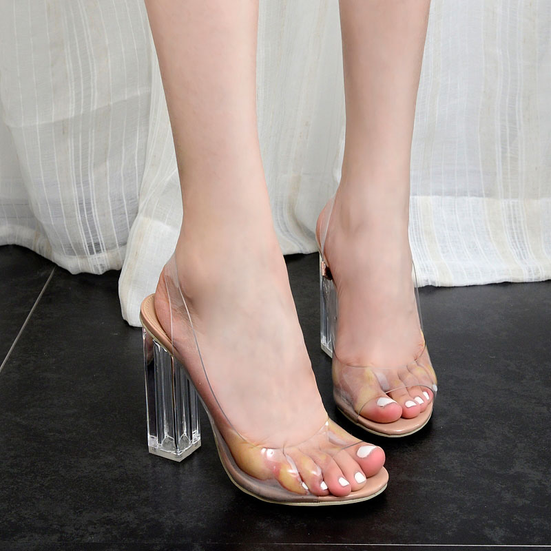 Women Sandals Clear Transparent PVC Sandals Open Toe High Heels Square Crystal Heel Slip-On Concise Sexy Dress Ladies Shoes fashion sexy transparent sandals set auger chain ultra slim heel sandals 12 appeal runway show shoes on sale