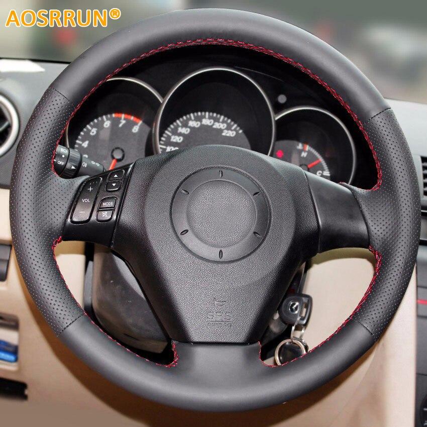 AOSRRUN Car accessories genuine leather car steering wheel cover For Old Mazda 3 2003-2009 Mazda 6 2002-2006 Mazda 5