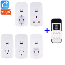 Tuya Smart Life App Wifi+2.4GHz RF Smart Socket Smart Plug EU FR Uk US AU Outlet 10A 16A Works With Alexa Google Home Mini IFTTT