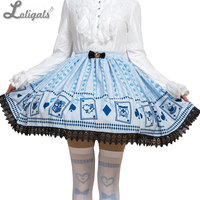 Sweet Mori Girl Light Sky Blue Poker Card Printed Short Skirt for Summer