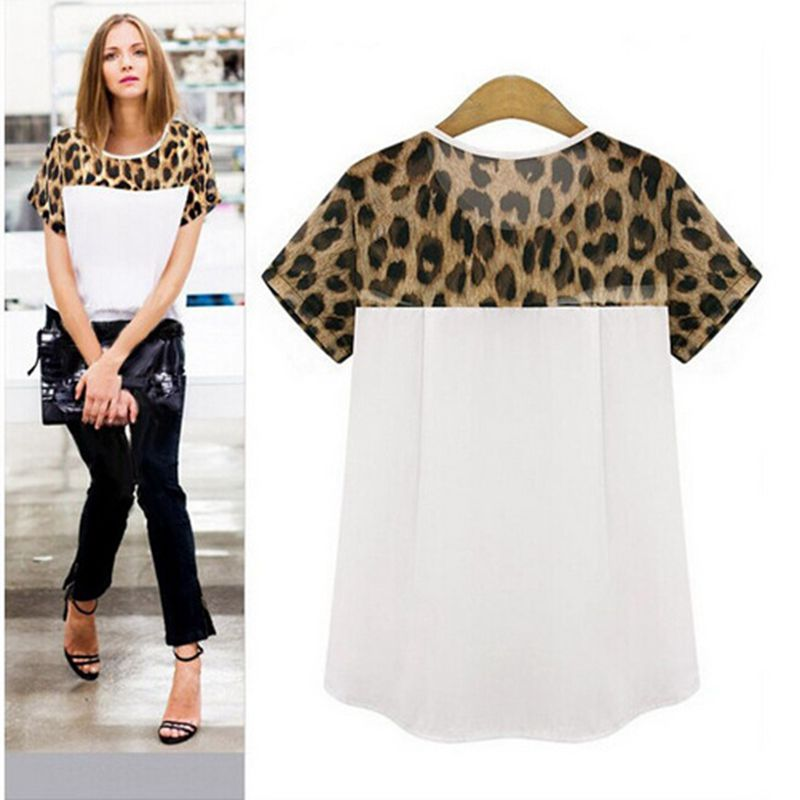 Plus Size S-2XL 2017 Summer Women Chiffon   Blouses     Shirts   Ladies Short Sleeve Leopard Patchwork Fashion Casual Women Tops Blusas