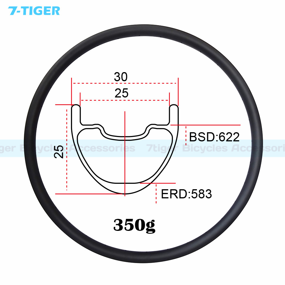 7-TIGER 30 mm width 25 mm depth 29er carbon MTB  rims clincher for XC UD/3K bicycle wheels glossy Finish TMC9325 29er mtb wheels carbon fiber 23mm depth 27mm bicycle bike rims carbon hook rims 3k ud glossy matte diy rims