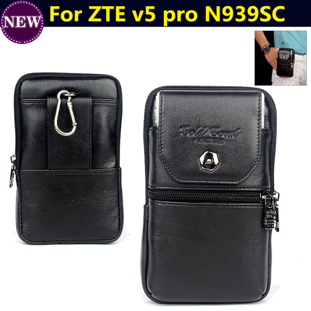 Genuine Leather Zipper Pouch Belt Clip Waist Purse Case Cover for ZTE v5 pro N939SC 5.5inch Mobile Phone Bag case Free Shipping