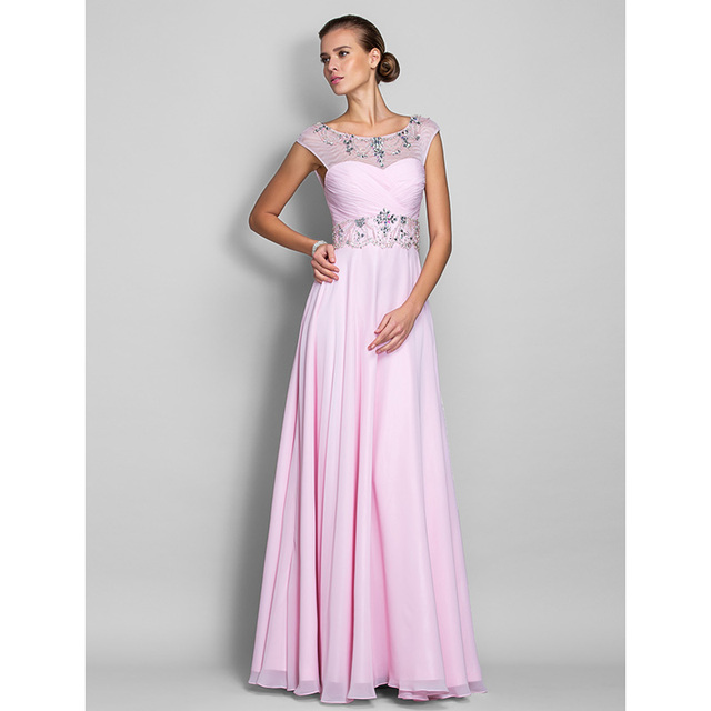 TS CoutureA Line Illusion Neckline Floor Length Chiffon Prom Formal ...