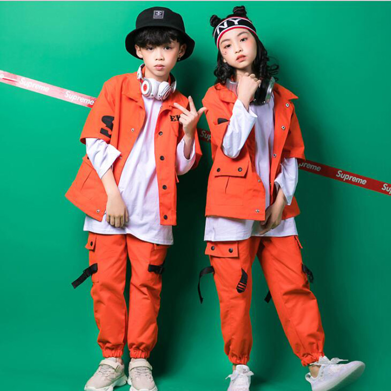 Boys Loose Ballroom Jazz Hip Hop Dancing Costumes Kid Adult Modern Party Show Clothing Jacket Pants Dancing Wear Set Outfits