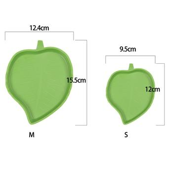 1 x Green Leaf Shape Pet Food Water Bowl For Tortoise Cuckold Reptile Amphibian Pet Animal Supply Feeding Products 2 Sizes 1