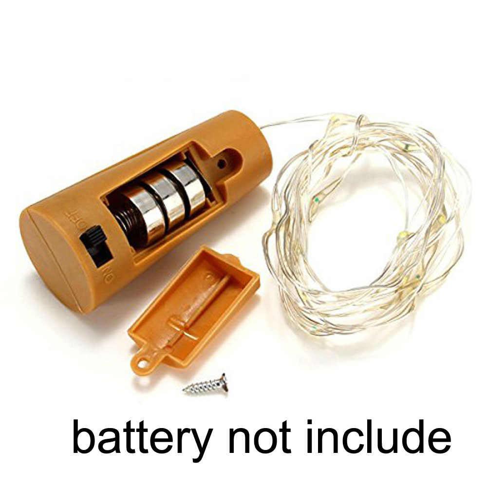 Kawat Perak LED String Light 2 M 20 LED Botol Anggur Gabus Yang Dioperasikan dengan Baterai Berbintang Tali Peri Lampu untuk Pesta liburan Natal