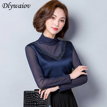 Fall Winter Women Blouse Imitation Silk Fashion Hot drilling turtleneck Plus velvet Keep Warm Feminine Mesh Stitching Shirt Tops