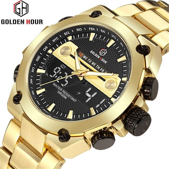 78a16020c3af Reloj de cuarzo analógico marca GOLDENHOUR relojes deportivos para hombre  reloj militar de acero completo reloj