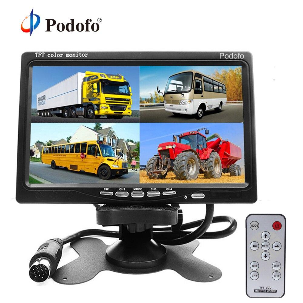 """Podofo 7 """"split Quad Monitor Tft Lcd Monitor Video Eingang Pc Audio Video Display, Front Rear Side View Kamera Display Auto-styling Das Ganze System StäRken Und StäRken"""
