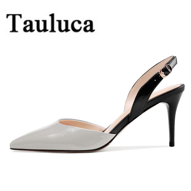 New Summer Women Patent Leather Stiletto Thin Heels Slingback Elegant Ladies Pointed Toe Shoes Buckle Sandals Large SizeNew Summer Women Patent Leather Stiletto Thin Heels Slingback Elegant Ladies Pointed Toe Shoes Buckle Sandals Large Size