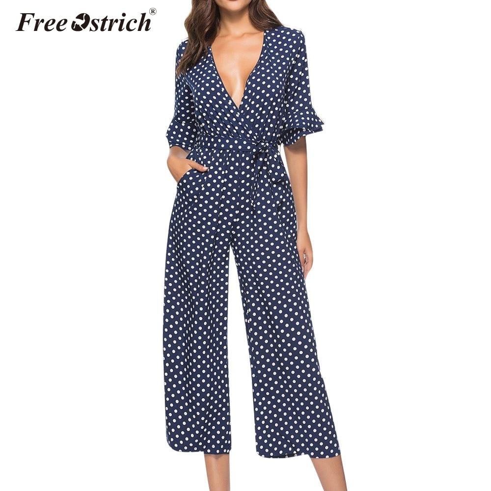 Free Ostrich   Jumpsuit   Women 2019 New Dot Clubwear V-Neck Playsuit Half Sleeve Jumper Casual Party   Jumpsuit   Female Romper N30