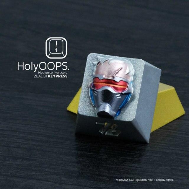 1 pc HolyOOPS édition 3D clavier mécanique alliage d'aluminium bouchon de clé en métal complet pour Overwatch soldats 76