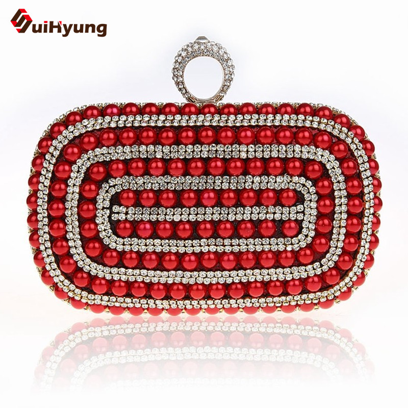 Fashion New Women Evening Bag Upscale Diamond Ring Clutch Beautiful Pearl Party Handbag Chain Shoulder Messenger Bag Multicolor  new arrived ladies pu leather retro handbag luxury women bag evening bag fashion black pearl chain shoulder bag party clutch bag