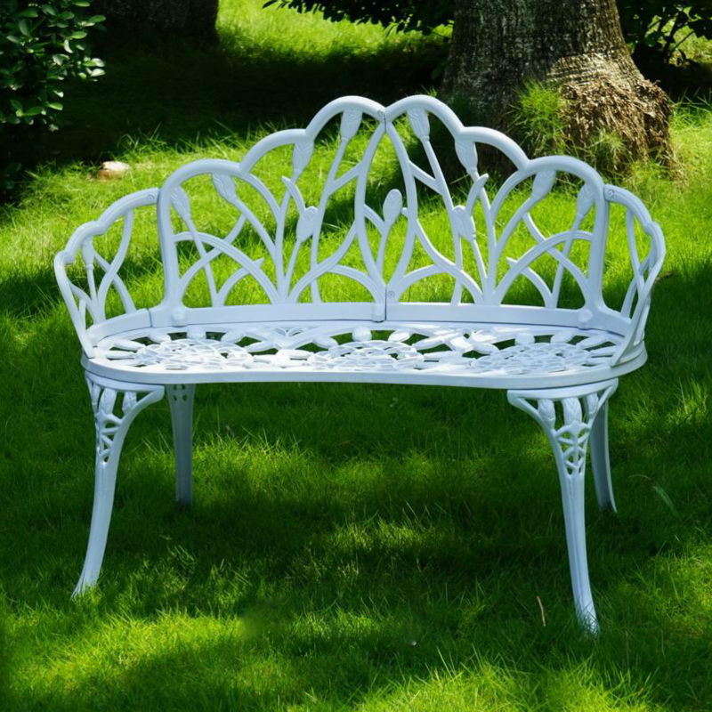 Loveseats Cast Aluminum Leisure Patio Benches Path Chair For Outdoor Furniture Decor Rust Proof ( White )